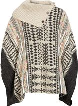 Patterned Knitted Cape Grey Multi - Gallery Image 1