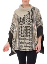 Patterned Knitted Cape Grey Multi - Gallery Image 2