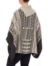 Patterned Knitted Cape Grey Multi - Gallery Image 3
