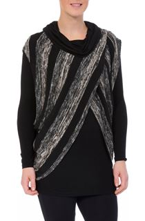 Long Sleeve Jersey And Stripe Knit Cowl Neck Top