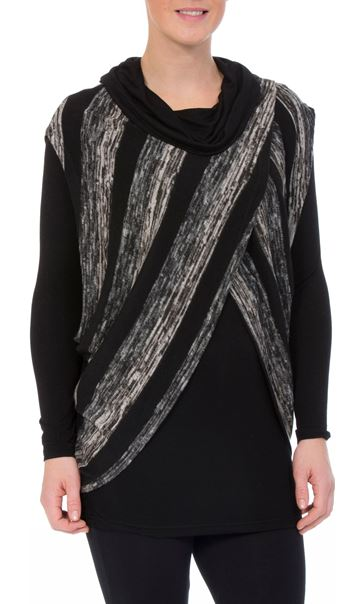 Long Sleeve Jersey And Stripe Knit Cowl Neck Top Black/Grey
