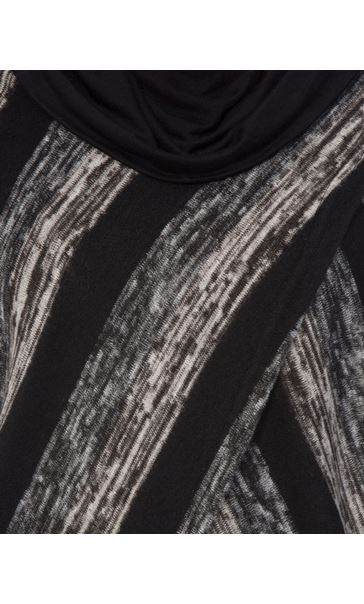 Long Sleeve Jersey And Stripe Knit Cowl Neck Top Black/Grey - Gallery Image 3