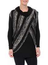Long Sleeve Jersey And Stripe Knit Cowl Neck Top Black/Grey - Gallery Image 1