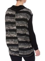 Long Sleeve Jersey And Stripe Knit Cowl Neck Top Black/Grey - Gallery Image 2