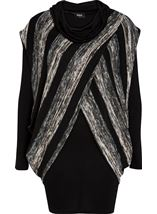Long Sleeve Jersey And Stripe Knit Cowl Neck Top Black/Grey - Gallery Image 4