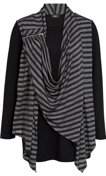 Striped Drape Long Sleeve Jersey Top Black/Grey