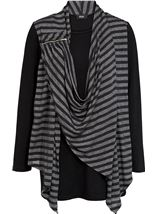 Striped Drape Long Sleeve Jersey Top Black/Grey - Gallery Image 1