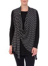 Striped Drape Long Sleeve Jersey Top Black/Grey - Gallery Image 2