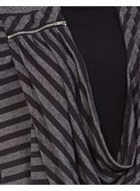 Striped Drape Long Sleeve Jersey Top Black/Grey - Gallery Image 4
