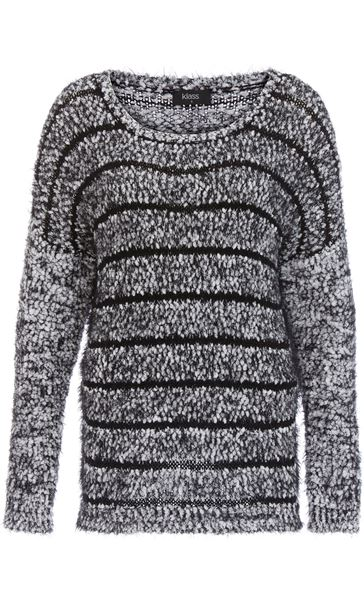 Striped Long Sleeve Knit Top Black