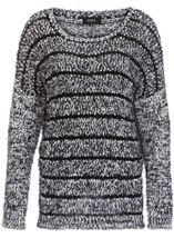 Striped Long Sleeve Knit Top Black - Gallery Image 1
