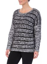 Striped Long Sleeve Knit Top Black - Gallery Image 2