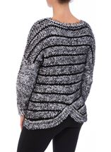 Striped Long Sleeve Knit Top Black - Gallery Image 3