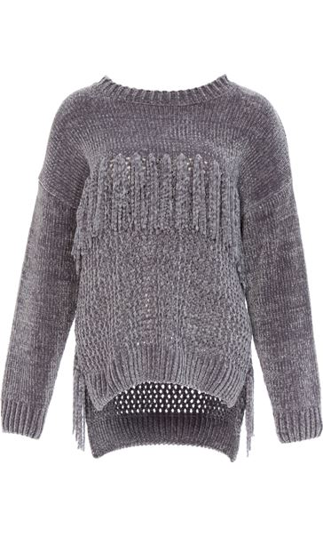 Chenille Knitted Tassel Top Grey