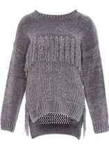 Chenille Knitted Tassel Top Grey - Gallery Image 1