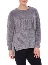 Chenille Knitted Tassel Top Grey - Gallery Image 2