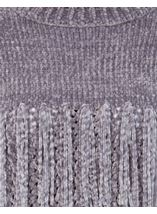 Chenille Knitted Tassel Top Grey - Gallery Image 4