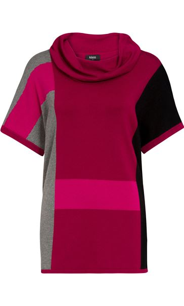 Colour Block Cowl Neck Short Sleeve Knit Top Black/Grey/Magenta