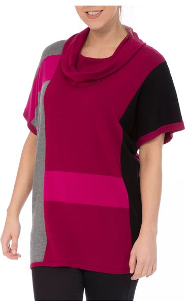 Colour Block Cowl Neck Short Sleeve Knit Top Black/Grey/Magenta - Gallery Image 2