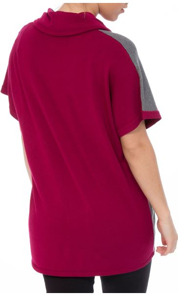 Colour Block Cowl Neck Short Sleeve Knit Top Black/Grey/Magenta - Gallery Image 3