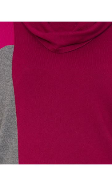 Colour Block Cowl Neck Short Sleeve Knit Top Black/Grey/Magenta - Gallery Image 4