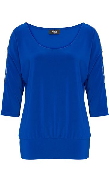 Zip Cold Shoulder Stretch Top Cobalt