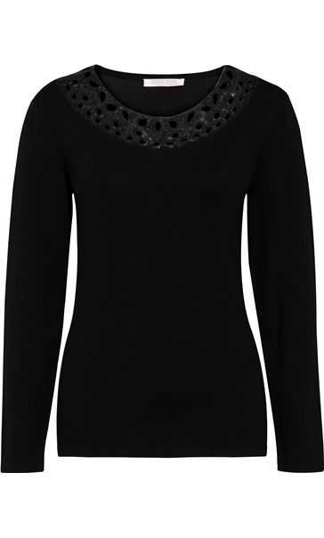 Anna Rose Embellished Neck Knit Top Black
