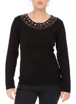 Anna Rose Embellished Neck Knit Top Black - Gallery Image 2