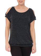 Sparkle Cold Shoulder Stretch Top Black/Silver/Blue - Gallery Image 2