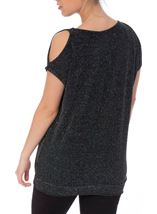 Sparkle Cold Shoulder Stretch Top Black/Silver/Blue - Gallery Image 3