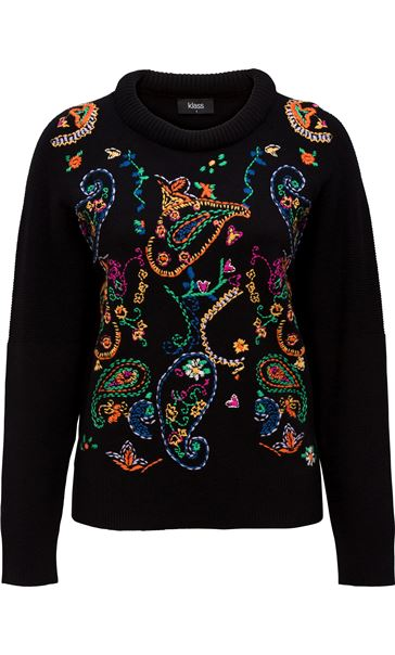 Embroidered Knitted long Sleeve Top Black/Multi