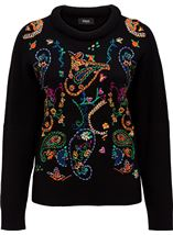 Embroidered Knitted long Sleeve Top Black/Multi - Gallery Image 1