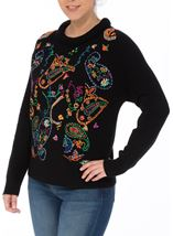 Embroidered Knitted long Sleeve Top Black/Multi - Gallery Image 2