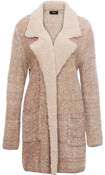 Shearling Collar Knit Cardigan Natural