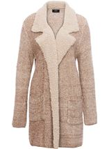 Shearling Collar Knit Cardigan Natural - Gallery Image 1