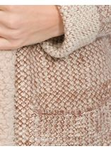 Shearling Collar Knit Cardigan Natural - Gallery Image 4
