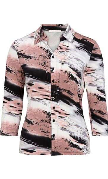 Anna Rose Printed Blouse With Necklace Black/Pale Pink