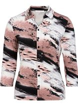 Anna Rose Printed Blouse With Necklace Black/Pale Pink - Gallery Image 1