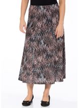 Anna Rose Muted Watercolour Print Skirt Grey/Pink - Gallery Image 2