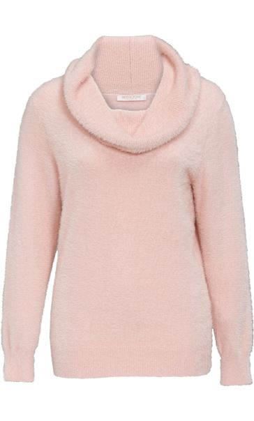 Anna Rose Cowl Neck Feather Knit Top Pale Pink