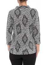 Anna Rose Pleated Top With Necklace Black/Grey/White - Gallery Image 2