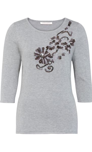 Anna Rose Embellished Knit Top Grey Melange