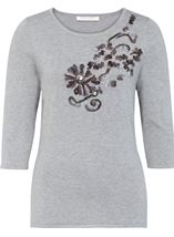 Anna Rose Embellished Knit Top Grey Melange - Gallery Image 1