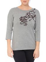 Anna Rose Embellished Knit Top Grey Melange - Gallery Image 2