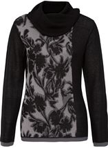Anna Rose Cowl Neck Knit Top Black/Grey - Gallery Image 1