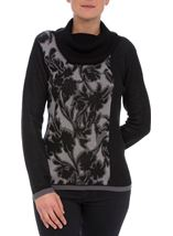 Anna Rose Cowl Neck Knit Top Black/Grey - Gallery Image 2