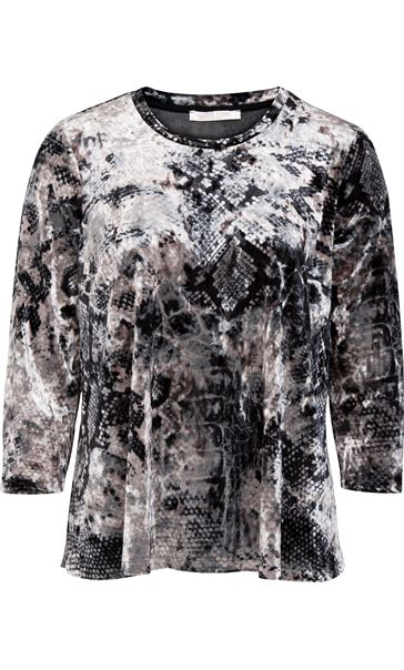 Anna Rose Animal Printed Velour Top Snake