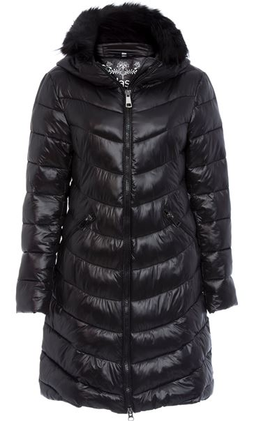 Faux Fur Trim Longline Zip Coat Black