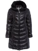 Faux Fur Trim Longline Zip Coat Black - Gallery Image 1
