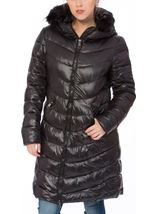 Faux Fur Trim Longline Zip Coat Black - Gallery Image 2